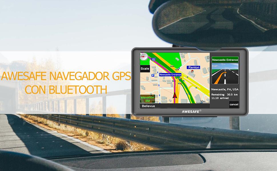AWESAFE GPS para Coche de 7 Pulgadas Pantalla con