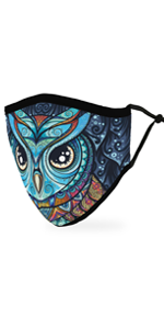 Adult Reusable, Washable Cloth Face Mask With Filter Pocket - Mosaic Owl