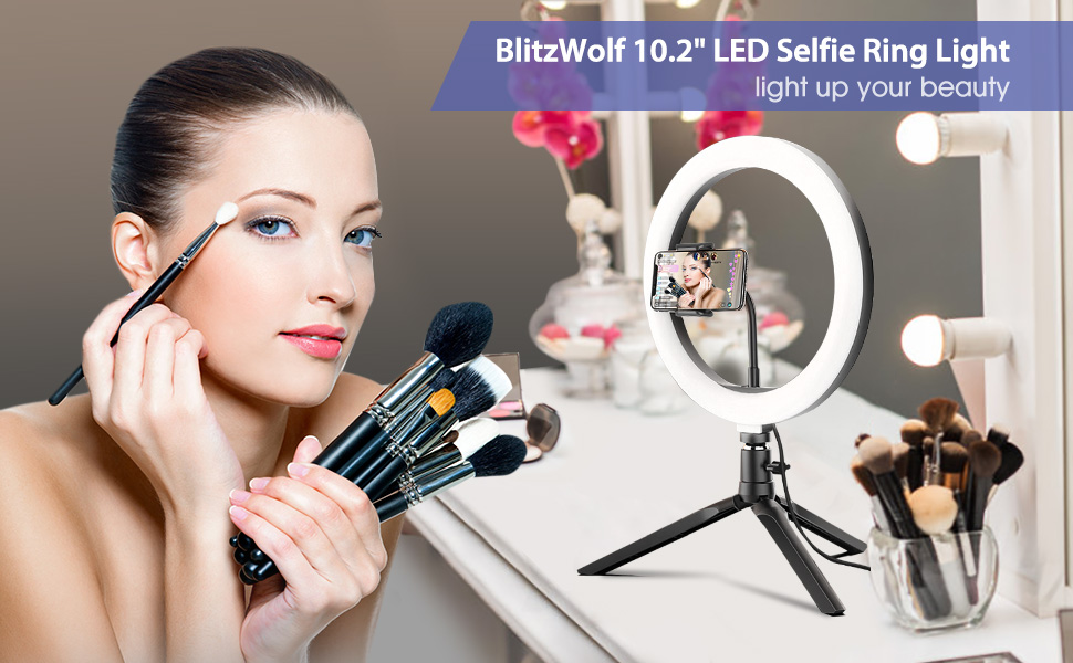 """BlitzWolf 10.2"""" LED Ring Light with Tripod Stand & Phone Holder for Live Streaming & YouTube Video"""