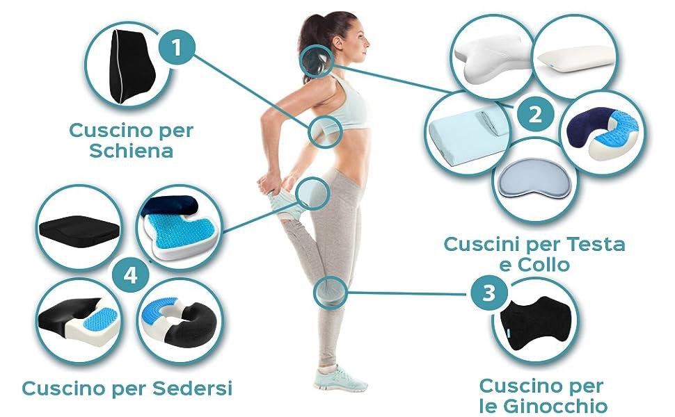 Palla per agopressione Allevia efficacemente i dolori della schiena e del coccige. Cuscino ortopedico Gel memory Confortevole Innovativo Facile da trasportare