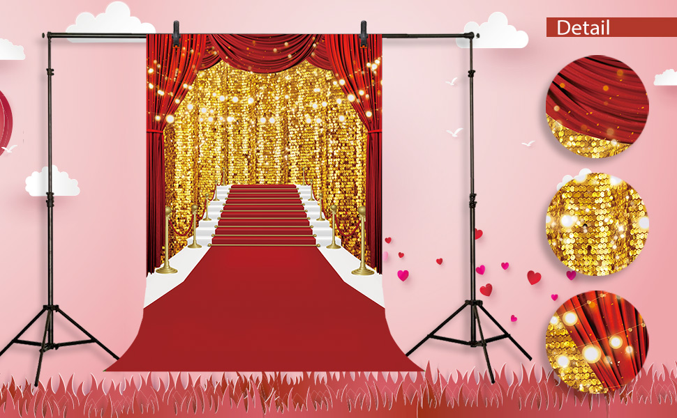 CdHBH 6x9ft Red Carpet Golden Glitter Portrait Clothing Photo Photography Background Cloth Photo Studio Photo Photography Background Holiday Venue Party Layout Wallpaper Home Decoration