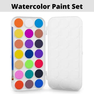 kassa watercolor paint set colorful cake pan with palette lid  for mixing watercolors