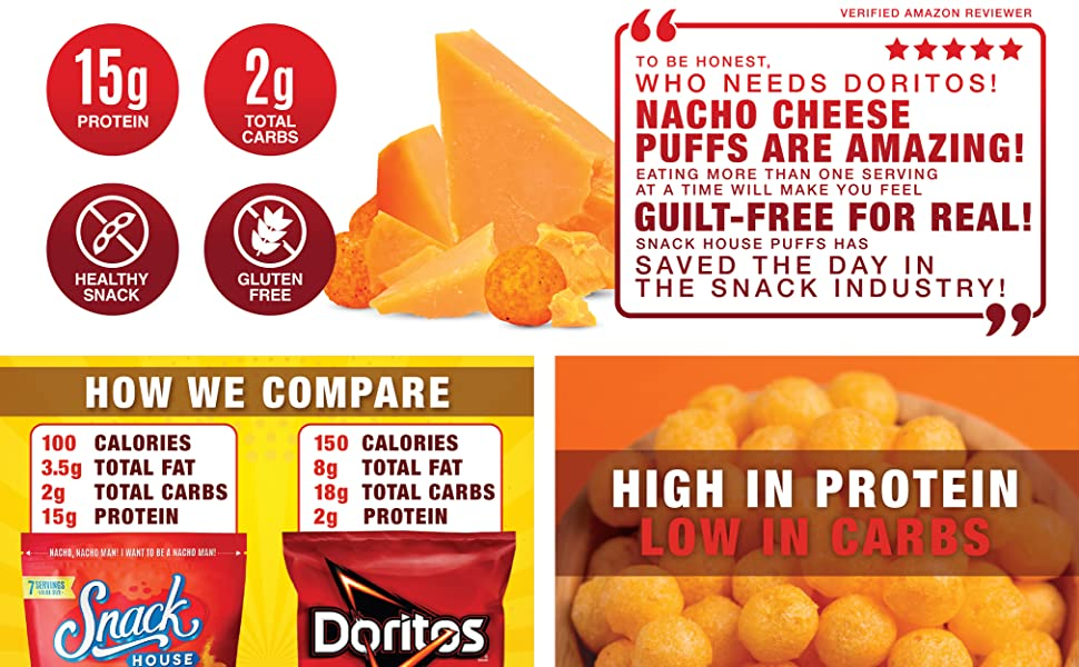 Snack House Puffs Nacho Cheese 7Servings ValueSize Protein GuiltFree Snack HighProtein LowCarbs