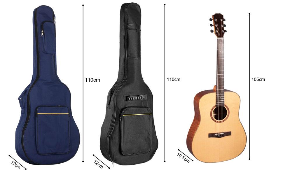 TRIXES Funda Acolchada de Guitarra Clásica y Acústica de Tamaño Completo Bolsa de Guitarra Clásica y Acústica Negro Transporte Con Un Tira Para el Hombro Ajustable y un Amplio Compartimento Frontal: Amazon.es: