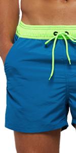 Men's Solid Swim Trunks with Back Zipper Pockets
