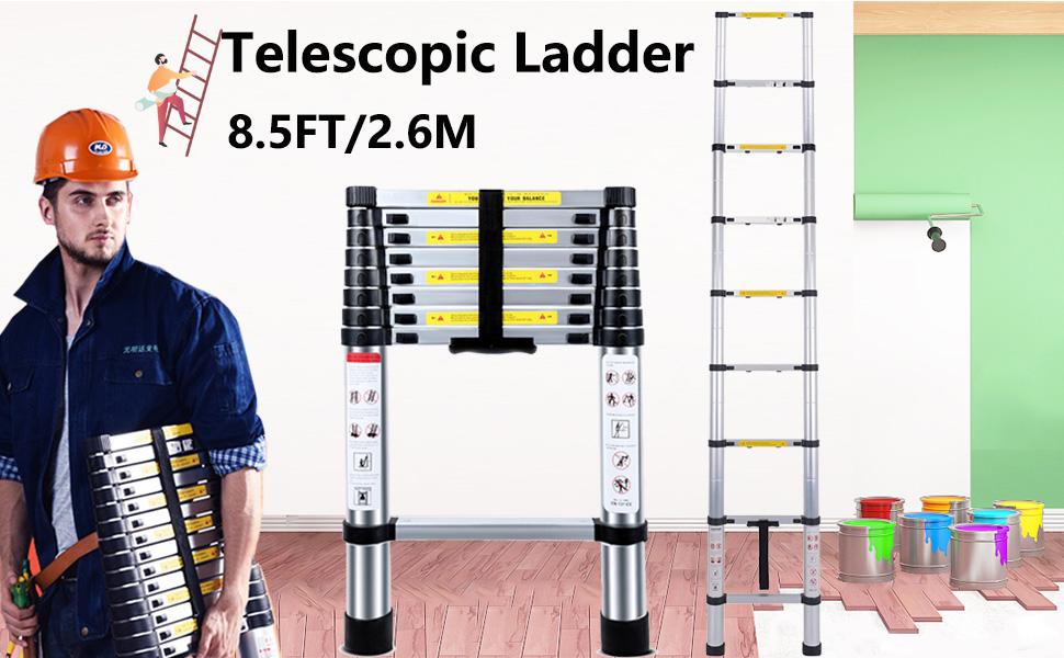 2,6m-8,5ft 2.6m T/élescopique Multi-Fonction Echelle Pliable Extensible aluminium Portable et Pliante Escabeau,8.5FT