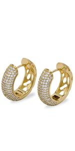 CZ Huggie Hoop Earrings Cubic Zirconia Stainless Steel Jewelry For Women Fashion Gold