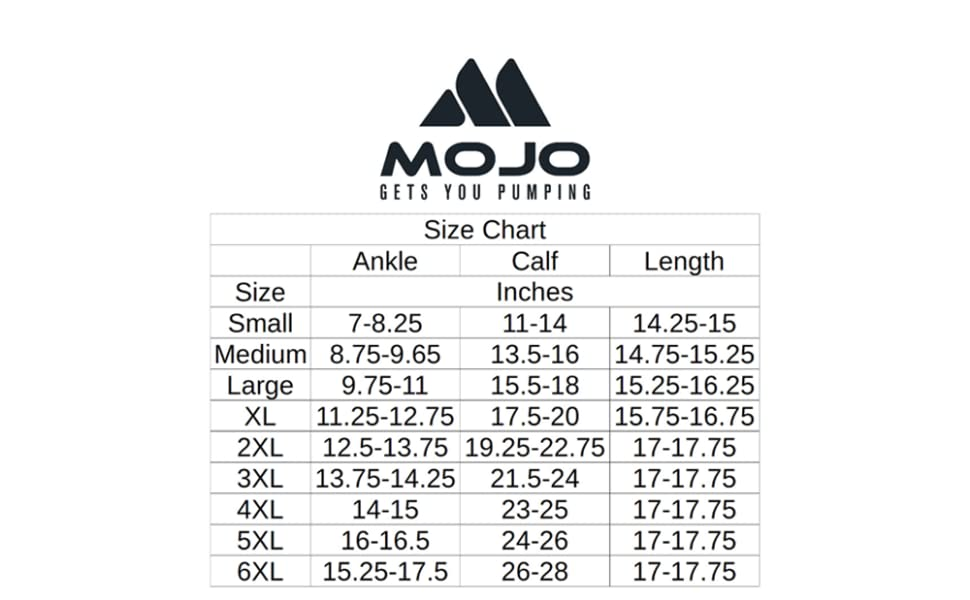 mojo compression plus size wide calf size chart