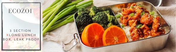 ecozoi three section leak proof lunch box bento stainless steel sustainable zero waste green eco