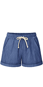 Casual Drawstring Elastic Waist Knee-Length Bermuda Shorts for Women