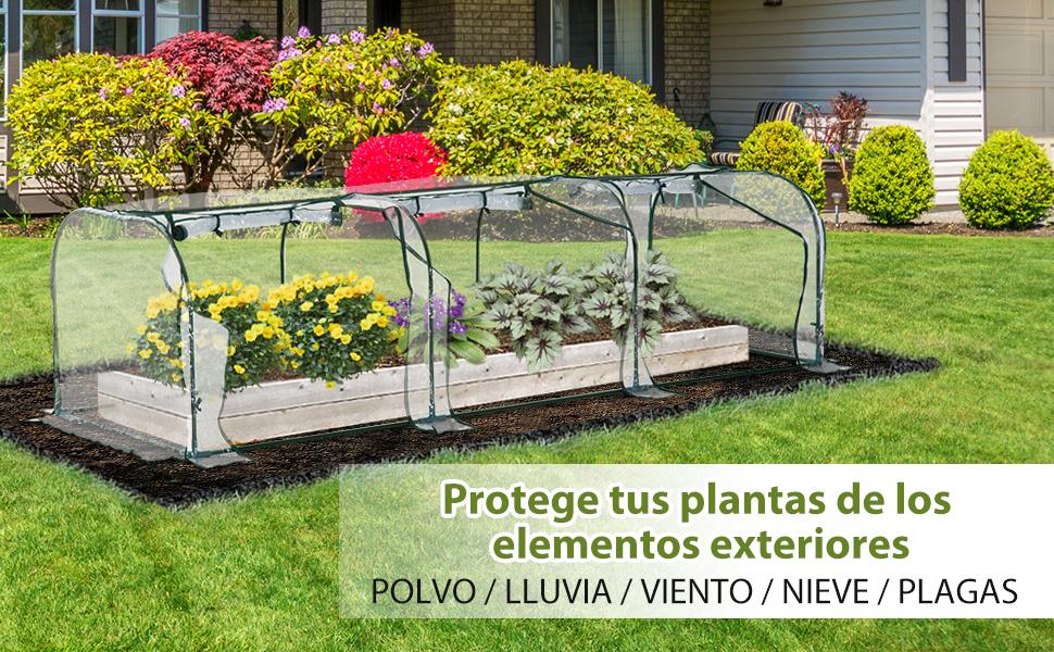 Outsunny Invernadero Caseta 300x100x80cm para Jardín Terraza Cultivo de Plantas Semilla Invernadero de Jardín Vivero Casero Tipo Túnel Marco Acero y PVC: Amazon.es: Jardín