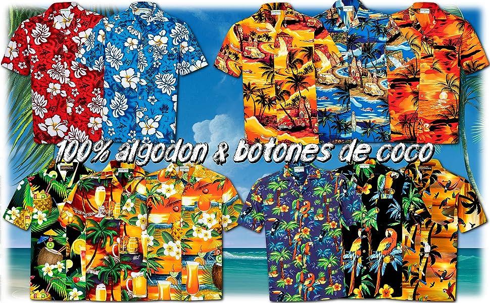 Camisa Hawaiana | Hombre | Manga Corta | 100% Algodón | S - 8XL ...