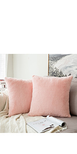 faux fur pillow covers pink blush