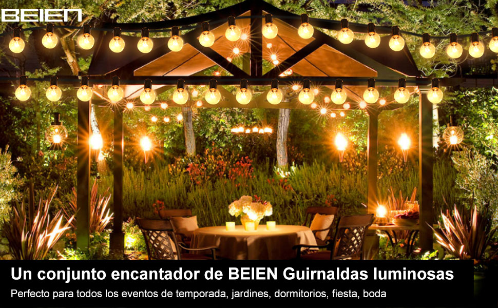 Guirnaldas luces de exterior, BEIEN G40 30ft Luces de la secuencia del jardín al aire libre,Decorative String Luces de patio,Garden Terrace Luces de patio de Navidad: Amazon.es: Iluminación