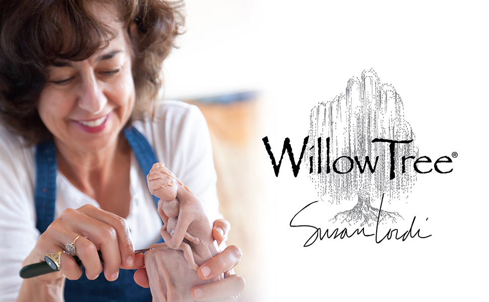 Artist Susan Lordi carving figure, left. Willow Tree logo, right.