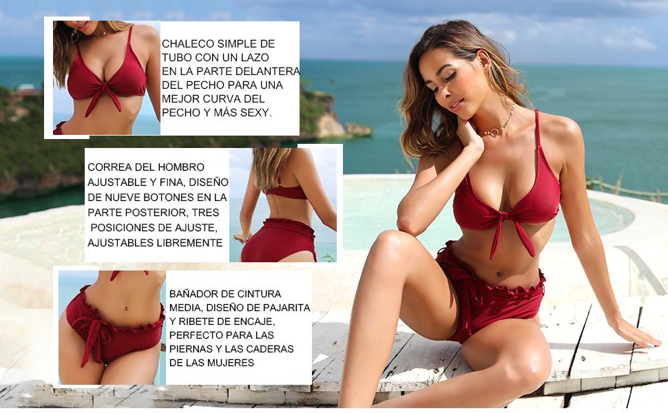 De Tubo Inferior Parte Shekini Top Arco Posterior Para Mujer Bikini mO0N8vynw