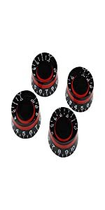 Guyker 4Pcs Guitar Dome Control Knobs for 6mm Dia. Shaft Pots