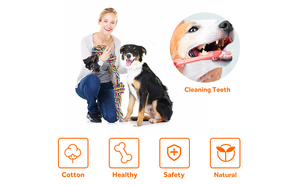 XL Dog Rope Toys for Strong Large Dogs, Sturdy Knots Tug Durable Chew Toy for Tug of War Interactive