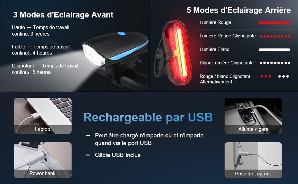 USB Rechargeable /éclairage V/élo,Imperm/éable Puissante Lampe MONTOP Lumi/ère V/élo