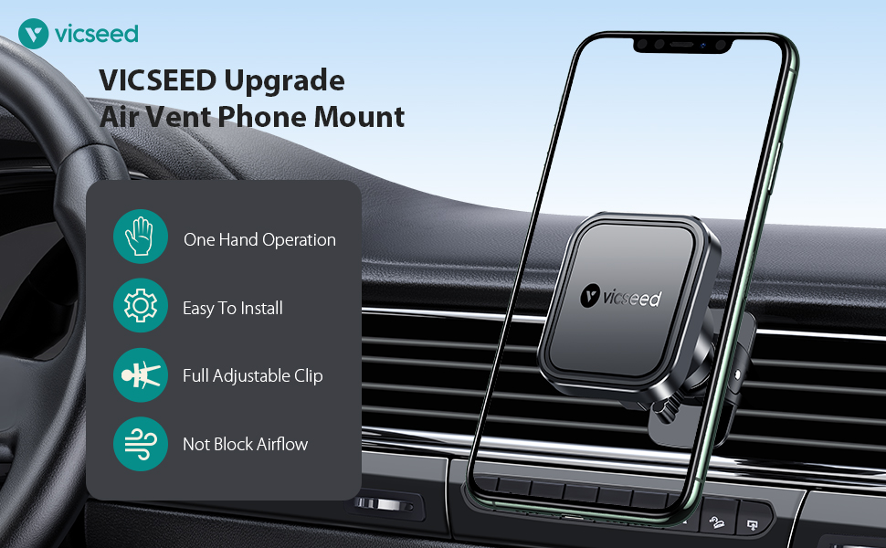 Vicseed magnetic car phone mount air vent cell phone holder for car fits for iphone SE 11 pro max