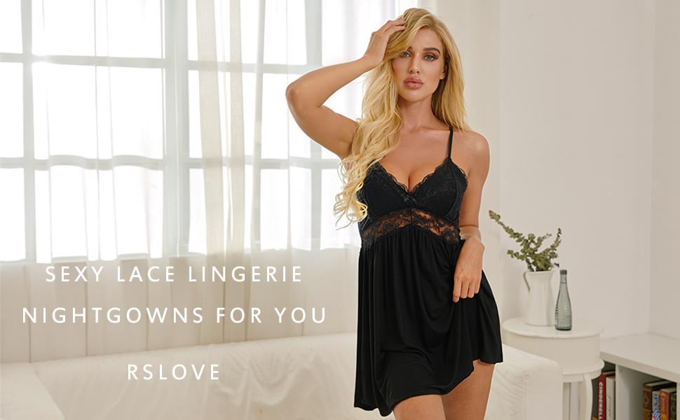 Glorxha Women lace Lingerie Sleepwear Chemises v-Neck Full Slip Babydoll Nightgown Dress