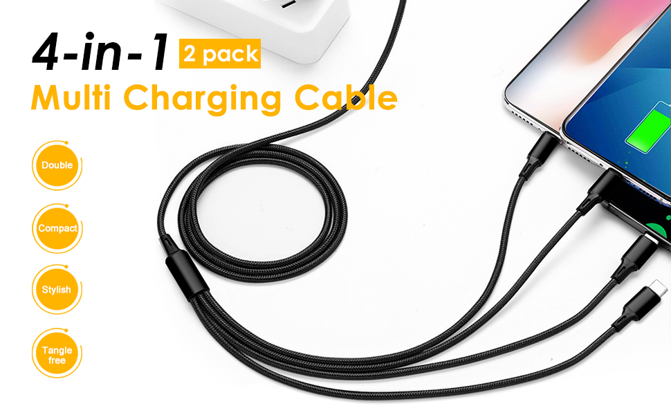 4ft 3 in 1 Multiple Charger Cord Adapter Micro USB Port Compatible Cell Phones Tablets and More Universal Use B-1 Fejarx State of South Carolina Multi USB Retractable Charging Cable