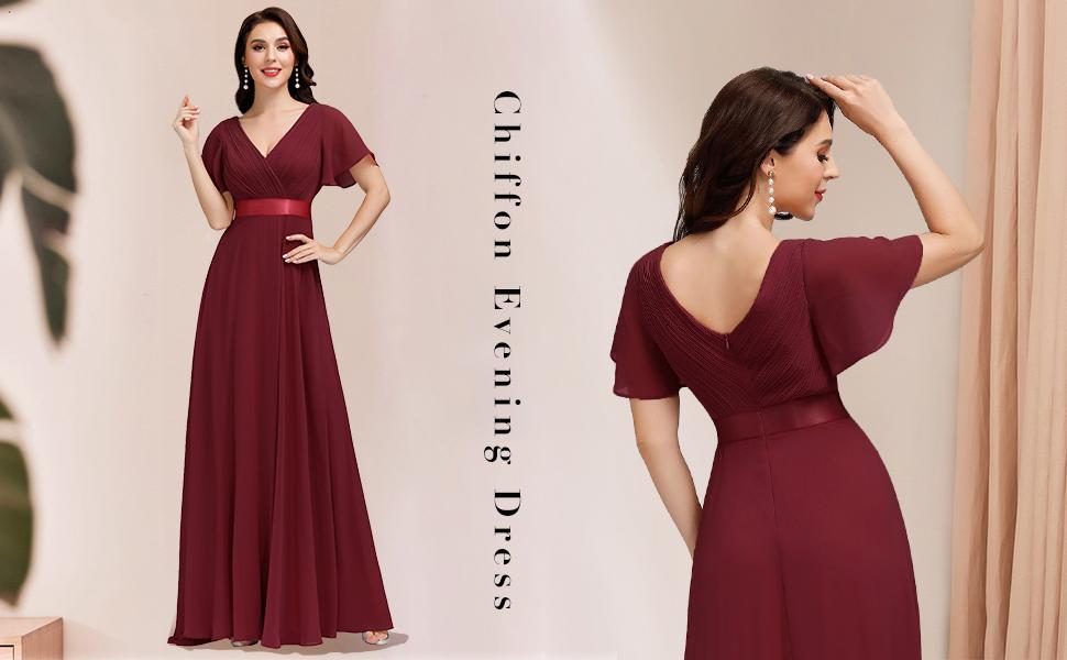 Ever-Pretty Plus Size Elegant Women Burgundy Long Wedding Beach Dresses 09890