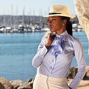Woman women classy fashionable fashion elegant straw panama hat outfit fedora boat