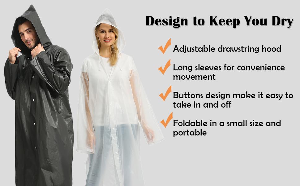 reusable raincoat adults