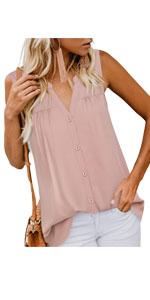 women tunics button down v neck sleeveless pleated chiffon blouses shirts top for leggings
