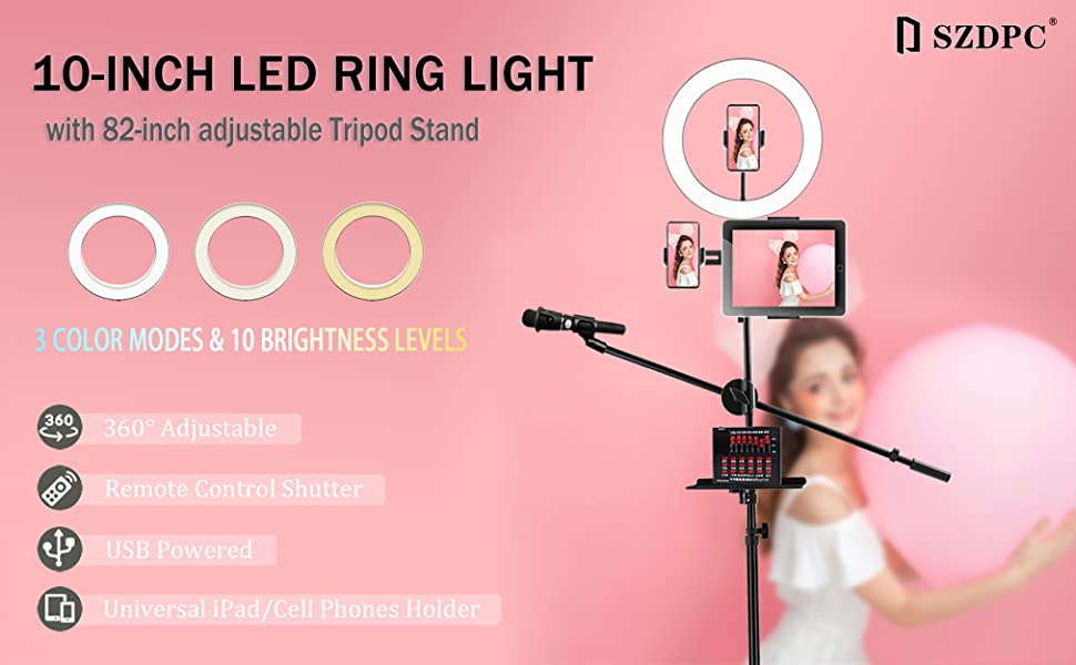 """10"""" LED Ring Light with Tripod Stand"""