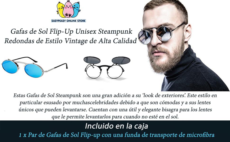 clip-on Steampunk Metal Retro Lente Doble UV400 Vintage Lentes de Forma Redonda Hombres y Mujeres CGID Gafas de Sol Polarizadas Sin Patillas