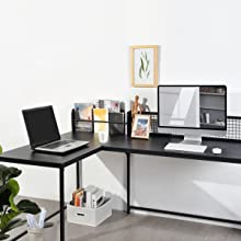 L Shaped Corner Desk Home Office Industrial Style Large Desktop Computer Game Desk Black Pc Workstations 165 X 110 X 75 95 Cm Küche Haushalt