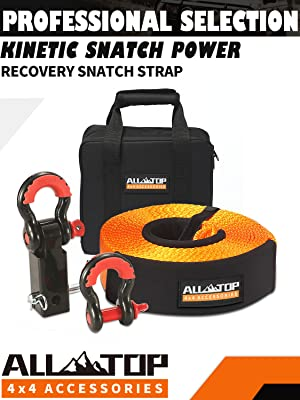 32,000 lbs with Isolator +Storage Bag 3//4 HD Shackles 2pcs 100/% Nylon Snatch Strap +2 Shackle Hitch Receiver ALL-TOP Nylon Recovery Kit with Hitch Receiver: 3 x20