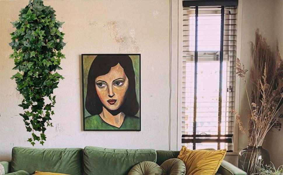 faux green hanging plants artificial vine garland plants for home livingroom decoration