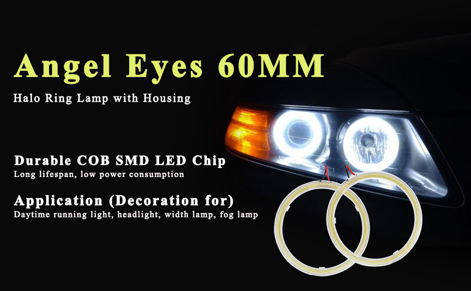 1x White Car Angel Eye Halo Rings Blub HeadLamp 70MM Cotton Cover 1 COB LED Z500