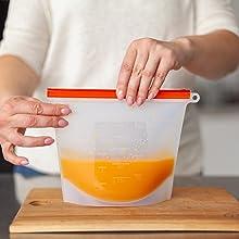 silicone bags reusable food storage freezer safe bag lunch snack zerowaste washable meal prep