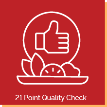 """Graphic of a thumbs-up symbol over a fruit tray. Text below reads, """"21 Point Quality Check"""""""