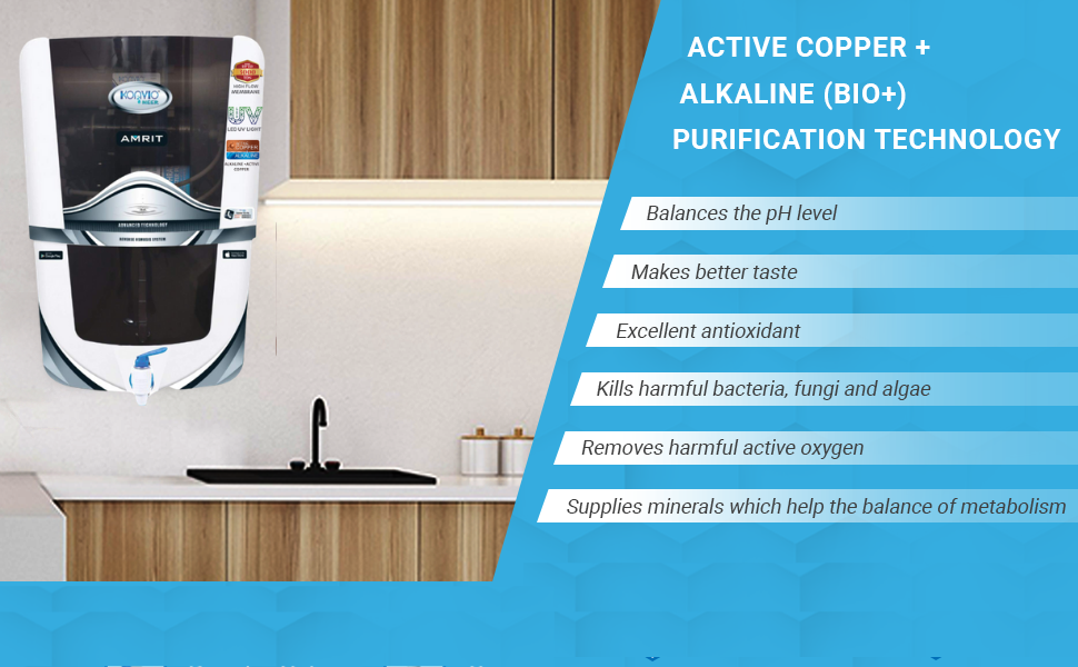 Konvio Neer ,Water Purifier, RO for home, Copper ,Alkaline, Water purifier for home