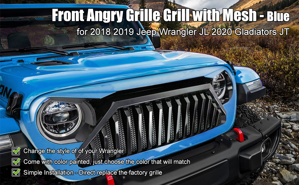 blue angry grill for wrangler jl