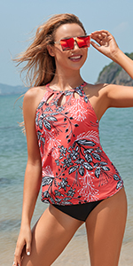 2 two piece tankini swimsuit for women floral printed halter high neck bathing suit swimwear