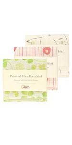 Nawrap Printed Handkerchief Set of 3, Animal, Poppy amp; Clover