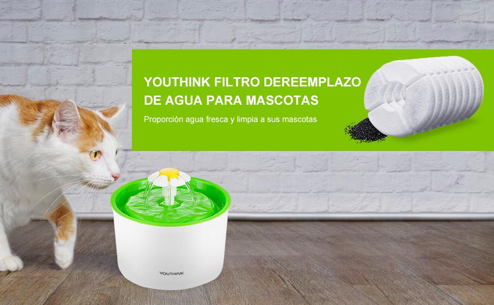 YOUTHINK Filtros Repuesto 1.6L Fuente Agua para Mascotas, 8 Paquetes, Carbón Activo Filtro para Fuente de Gato: Amazon.es: Productos para mascotas