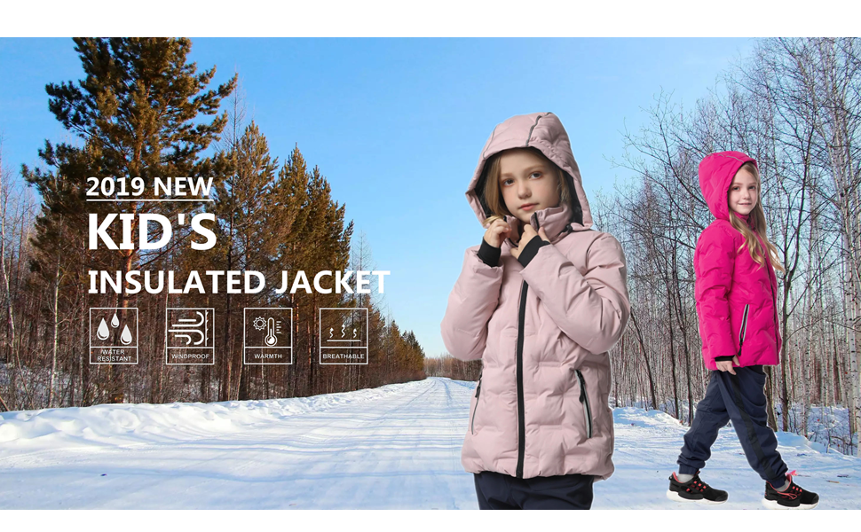 girls thick warm winter coat padded jacket with hood