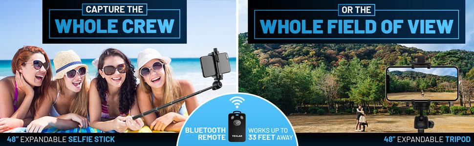 selfie stick or tripod long bluetooth remote