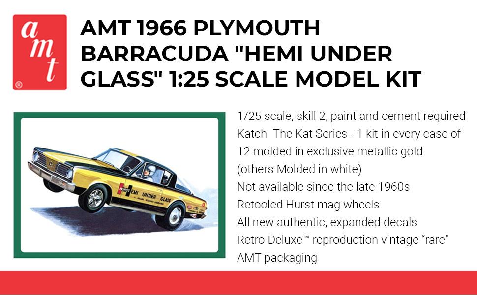 "Body Set 1//25 Scale AMT 1966 Plymouth Barracuda /""Hemi Under Glass/"" Funny Car"