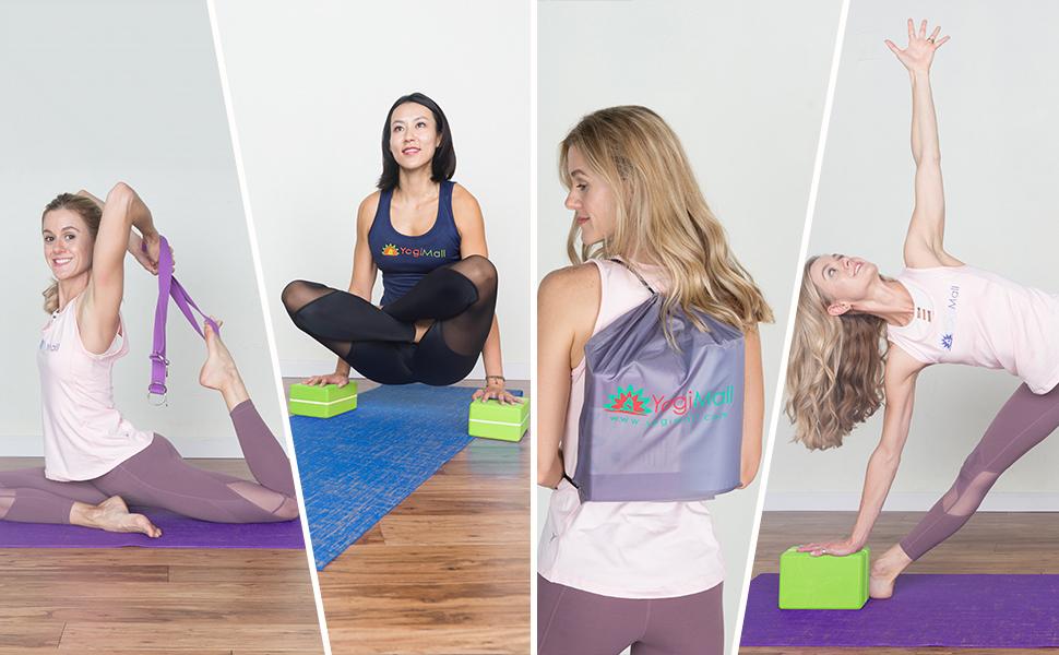 yoga blocks yoga carry strap bag and massage ball