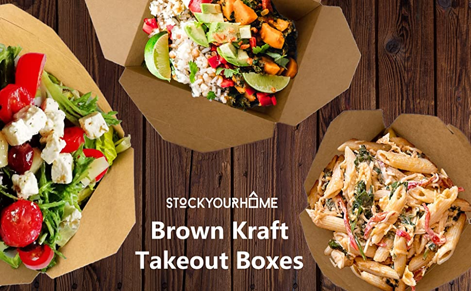 Microwaveable Kraft Brown Take Out Boxes 71 oz (40 Pack) Leak and Grease Resistant Food Containers