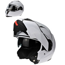 3GO NEW MODEL E335 FULL FACE MOTORBIKE MOTORCYCLE CRASH MODULAR ECE APPROVED ACU SPORTS DOUBLE VISOR ADULTS SOLID WHITE M 57-58 CM