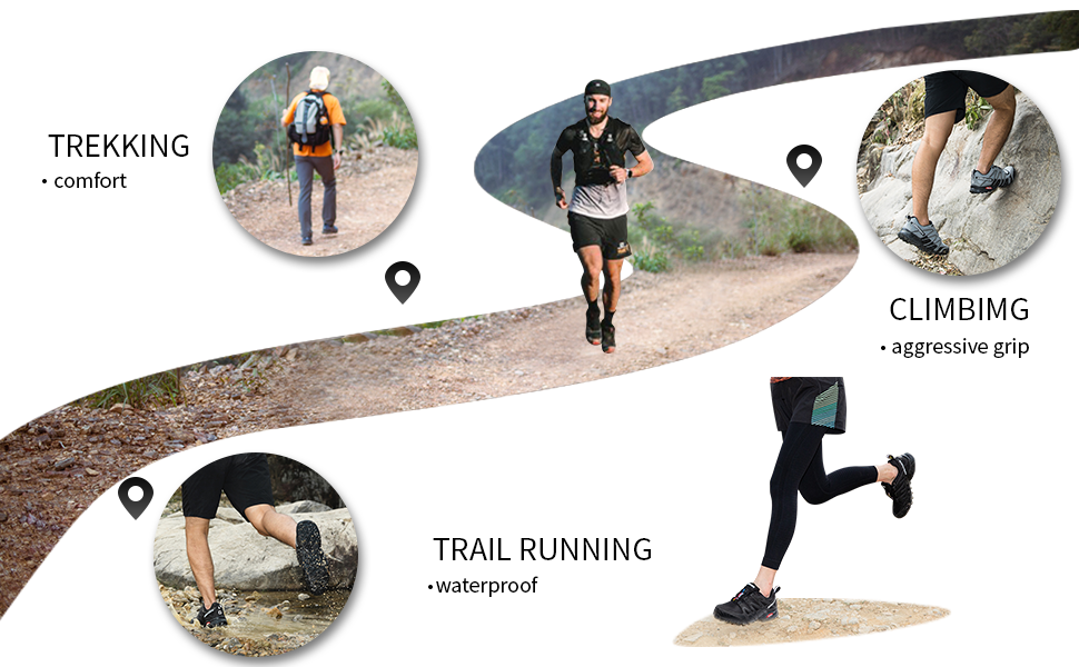 trekking hiking climbing running shoes
